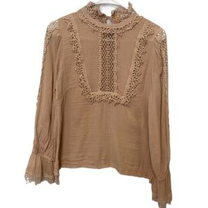 Free People High Neck Embroidered Cream Top Size S